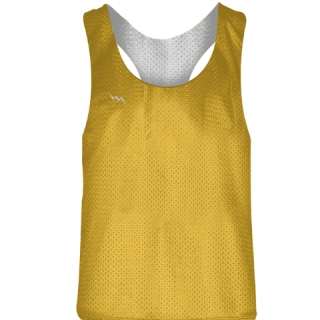 Blank Womens Pinnies -Athletic Gold White Racerback Pinnies - Girls Pinnies