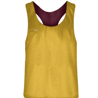 Blank Womens Pinnies -Athletic Gold Maroon Racerback Pinnies - Girls Pinnies