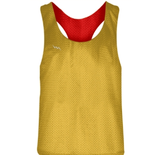 Blank Womens Pinnies -Athletic Gold Red Racerback Pinnies - Girls Pinnies