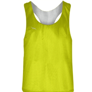 Blank Womens Pinnies -Yellow white Racerback Pinnies - Girls Pinnies