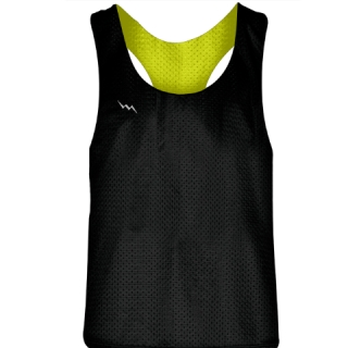 Blank Womens Pinnies -Yellow Black Racerback Pinnies - Girls Pinnies