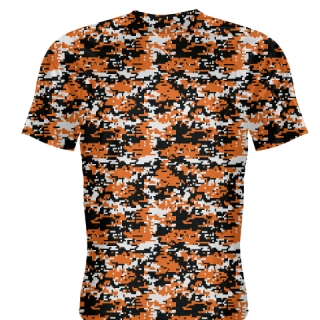 Orange Black Digital Camouflage Shirts - Adult & Youth Camo Shirts