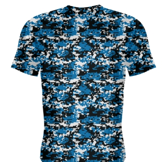 Royal Blue Black Digital Camouflage Shirts - Adult & Youth Camo Shirts