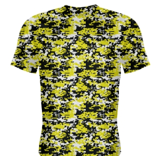 Yellow Black Digital Camouflage Shirts - Adult Youth Camo Shirts