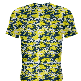 Yellow Navy Blue Digital Camouflage Shirts - Adult & Youth Camo Shirts