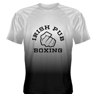 Irish Pub Boxing T Shirt White Black Fade