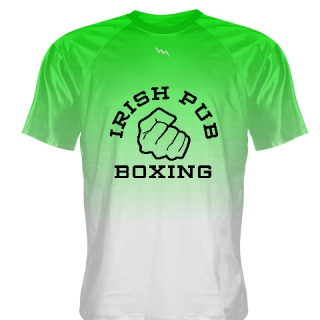 Irish Pub Boxing T Shirt Green White Fade