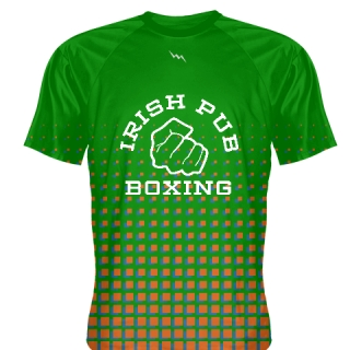 Irish Pub Boxing T Shirt Green Orange Design