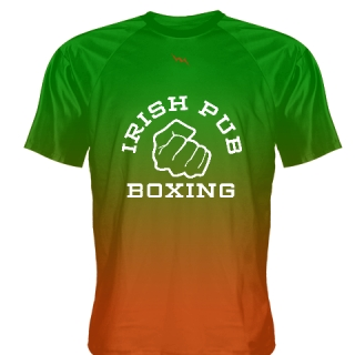 Irish Pub Boxing T Shirt Green Orange Fade Design