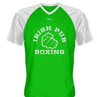 Irish Pub Boxing T Shirt Green V Neck