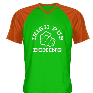 Irish Pub Boxing T Shirt Green Orange V Neck