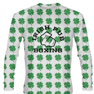 Irish Pub Boxing Long Sleeve Shirt Green Shamrock