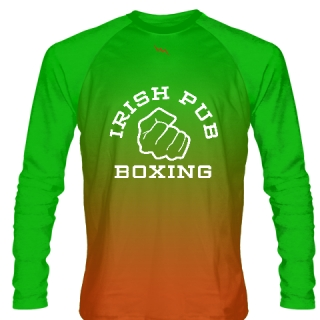 Irish Pub Boxing Long Sleeve Shirt Orange Green Fade Shamrock