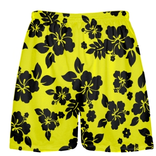 Yellow Hawaiian Shorts Black Accent
