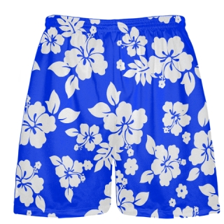 Royal Blue White Hawaiian Shorts Black Accent