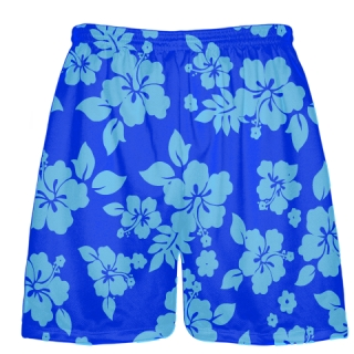 Light Blue Royal Blue Hawaiian Shorts Accent