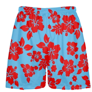 Light Blue Red Hawaiian Shorts Accent