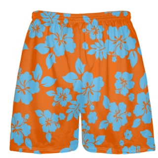 Light Blue Orange Hawaiian Shorts Accent