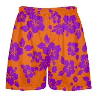 Purple Orange Hawaiian Shorts Accent
