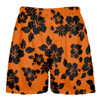Black Orange Hawaiian Shorts Accent