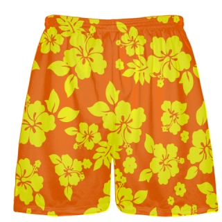 Yellow Orange Hawaiian Shorts Accent