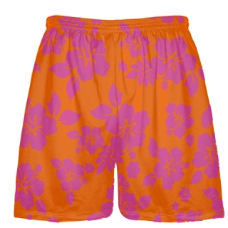 Pink Orange Hawaiian Shorts Accent