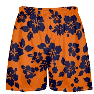 Navy Blue Orange Hawaiian Shorts Accent