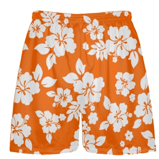 White Orange Hawaiian Shorts Accent