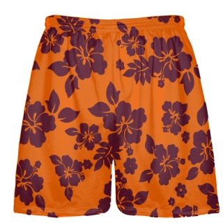 Maroon Orange Hawaiian Shorts Accent