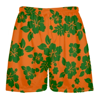 Green Orange Hawaiian Shorts Accent