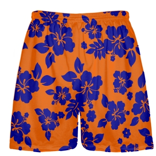 Blue Orange Hawaiian Shorts Accent