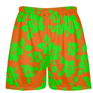 Neon Green Orange Hawaiian Shorts Accent