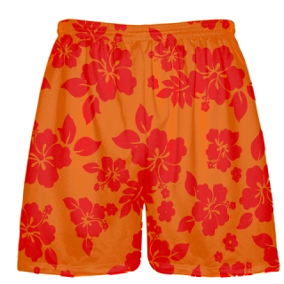Red Orange Hawaiian Shorts Accent