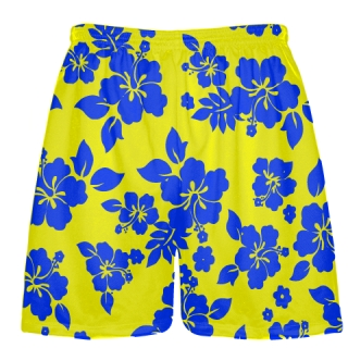 Yellow Blue Hawaiian Shorts Accent