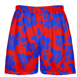 Red Blue Hawaiian Shorts Accent