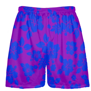 Purple Blue Hawaiian Shorts Accent