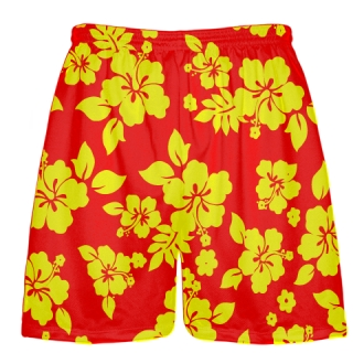 Red Yellow Hawaiian Shorts Accent