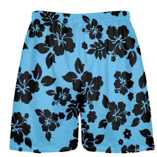 Light Blue Black Hawaiian Shorts Accent