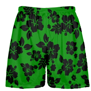 Green Black Hawaiian Shorts Accent