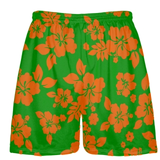 Green Orange Hawaiian Shorts Accent - Irish Shorts