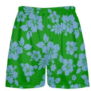 Green Powder Blue Hawaiian Shorts Accent - Hawaii Shorts