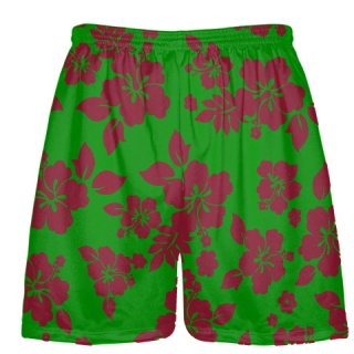 Green Maroon Hawaiian Shorts Accent - Hawaii Shorts
