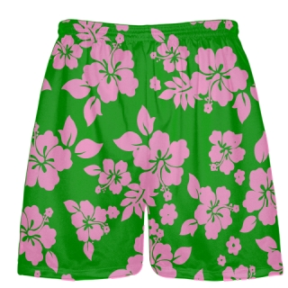 Green Pink Hawaiian Lacrosse Shorts