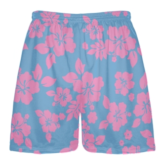 Light Blue Pink Hawaiian Lacrosse Shorts