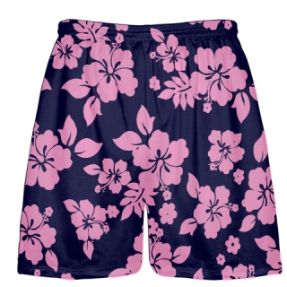 Navy Blue Pink Hawaiian Lacrosse Shorts