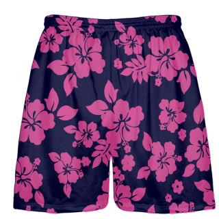 Navy Blue Hot Pink Hawaiian Lacrosse Shorts