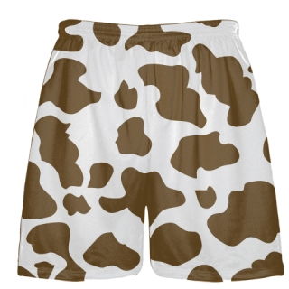 White Brown Cow Print Shorts