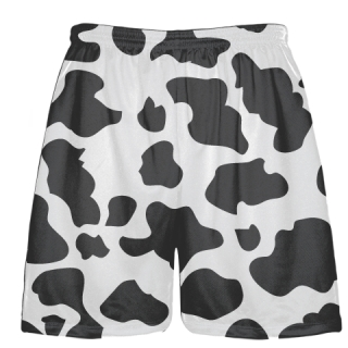 White Charcoal Gray Cow Print Shorts