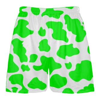 White Neon Green Cow Print Shorts - Cow Shorts