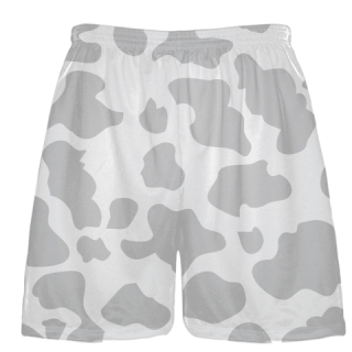 White Silver Cow Print Shorts - Cow Shorts